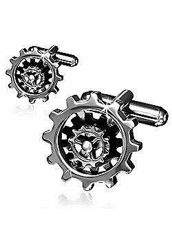 Urban Male Two Colour Stainless Steel Gear Wheel Cufflinks