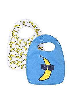 F&F 2 Pack of Banana Print Feeder Bibs - Blue/White