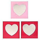 Heart - Set Of 3 Heart Decorative Wall Mirrors - Pink
