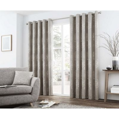 Curtina Elmwood Stone Eyelet Curtains - 90x90 Inches (229x229cm)