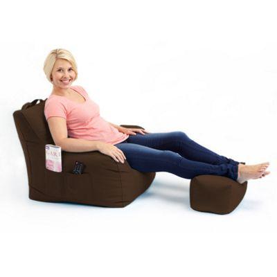 Loft 25 Water Resistant Bean Bag Armchair with Footstool - Brown