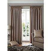 Alan Symonds Lined Solitaire Latte Pencil Pleat Curtains - 66x90 Inches (168x229cm)