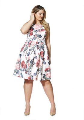 Izabel Curve Rose Print Plus Size Dress White Multi 24