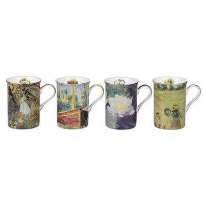 4 Piece Claude Monet Design Mugs