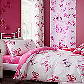 Pink Butterflies Eyelet Curtains 72s