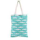 Turquoise Fish Canvas Shopping Bag