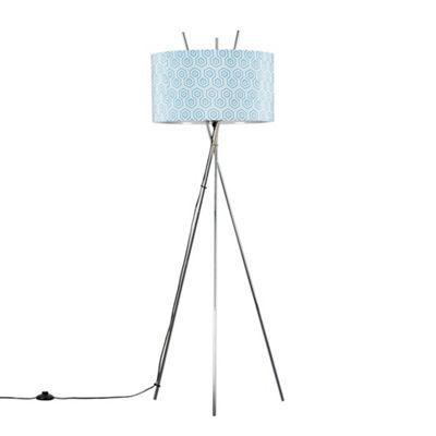 Crawford Chrome Tripod Floor Lamp - Chrome & Geometric
