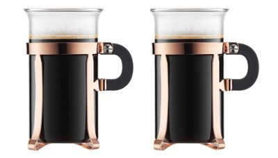 Bodum Chambord Classic Set of 2 Coffee Glasses, Copper