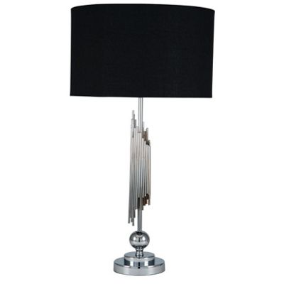 Chrome Hotel Tall Sculptured Table Lamp Complete