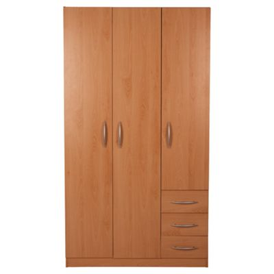 Ashton Triple Wardrobe with Drawers, Beech