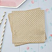 Pick & Mix Kraft Metallic Polka Dot Napkins - 3ply Paper
