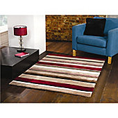 Infinite Inspire Broad Stripe Oblong Choc/Red Rug - 120X170