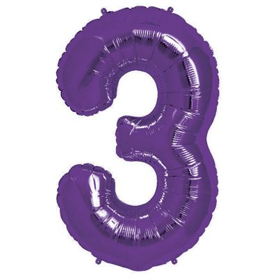 Purple Number 3 Balloon - 34 inch Foil
