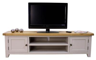 Buy Arklow Painted Grey Xl Large Oak Tv Unit Extra Large