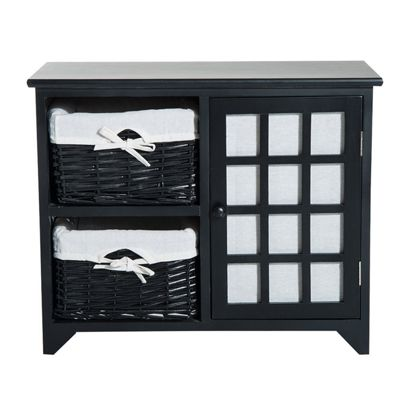 Homcom Wooden Cabinet Unit Bedroom Storage Chest w/ Multi Tiers and Drawers - Black