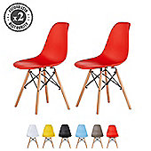 Set of 2 Modern Design Chair Eames Style (Red)