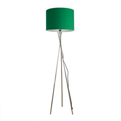 Camden Tripod Floor Lamp, Chrome & Green Rolla Shade