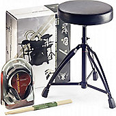 Stagg Drum Throne Headphones Sticks Pack