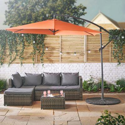 VonHaus 3M Tawny Orange Overhanging Parasol - Garden & Patio Umbrella