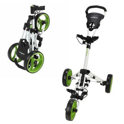 Caddymatic Golf X-Lite One-Click Folding Pull/Push Golf Trolley White/Green