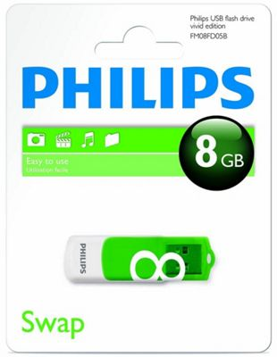 Philips Vivid Edition USB 2.0 8 GB Flash Drive - Green - R165767