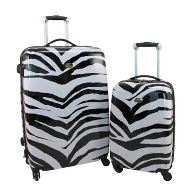Swiss Case 4-Wheel 2Pc Hard Suitcase Set, Zebra Print