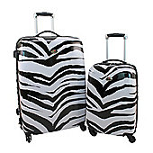 Swiss Case 4 Wheel Hard 2Pc Suitcase Set Zebra