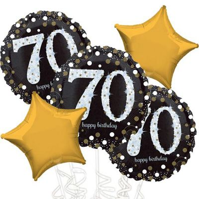 70th Birthday Gold Sparkling Celebration Balloon Bouquet - Assorted Foil 18 inch