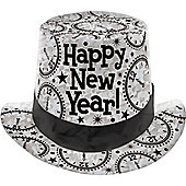 New Year Prismatic Card Top Hat - Silver