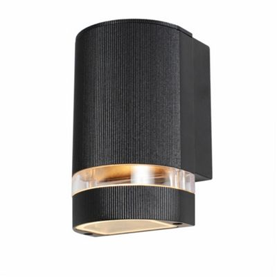 Litecraft Vetica 1 Bulb Small Up or Down Outdoor Wall Light, Black