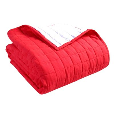 Homescapes Cotton Quilted Reversible Bedspread Red & White, 150 x 200 cm
