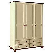 Copenhagen Cream and Pine 3 Door 4 Drawer Wardrobe