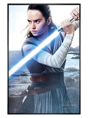 Star Wars The Last Jedi Gloss Black Framed Rey Engage Poster 61 x 91.5cm