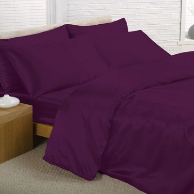 Purple Satin King Duvet Cover, Fitted Sheet and 4 pillowcases Bedding