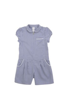 F&F School Easy Iron Gingham Playsuit Navy/White 3-4 years