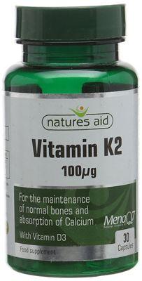 Natures Aid Vitamin K2 (MenaQ7) 100ug - 30 Capsules