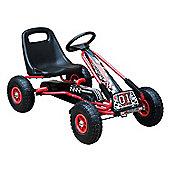Homcom Kids Ride On Go Kart Sports Toy w/ Adjustable Seat Rubber Wheel Braking