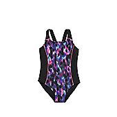 F&F Blurred Print Swimsuit - Black & Multi