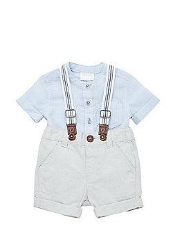F&F Grandad Collar Shirt and Shorts with Braces Set - Blue & Grey