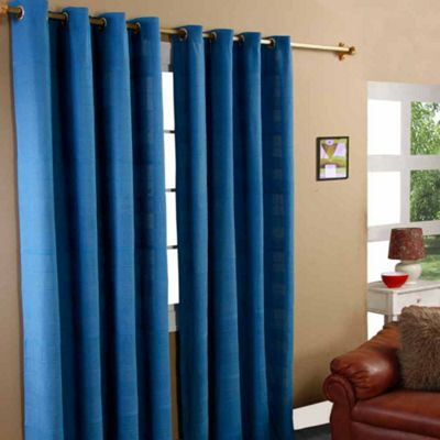 Homescapes Cotton Rajput Ribbed Blue Curtain Pair, 66 x 90