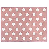 Pink and White Spotty Rug - 100 x 150 cm