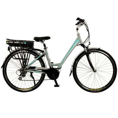 Flare Womens Low Step Mid Drive Electric Hybrid City Bike, Grey