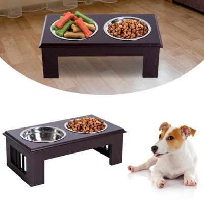PawHut Elevated Pet Feeder Raised Stainless Steel Bowls Stand Small - Brown