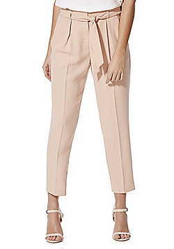 F&F Tie Waist High Rise Tapered Trousers - Blush pink
