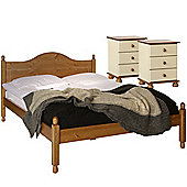 Nordic Cream and Pine Bedside, Bedside, Double Bed Package