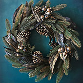 Gold Cone & Feather Christmas Wreath