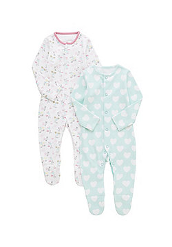 F&F 2 Pack of Heart and Bunny Sleepsuits - Multi