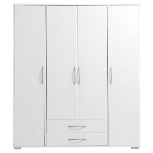 Newport 4 Door 2 Drawer Wardrobe White