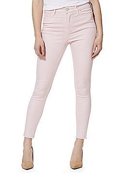 F&F Frayed Hem Ankle Grazer Mid Rise Skinny Jeans - Light pink