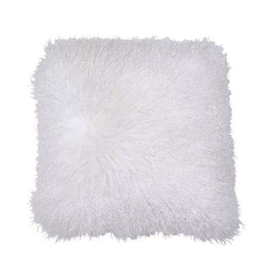 Bahne Cushion Square Natural Tibetan Lambskin in White 40 x 40 cm